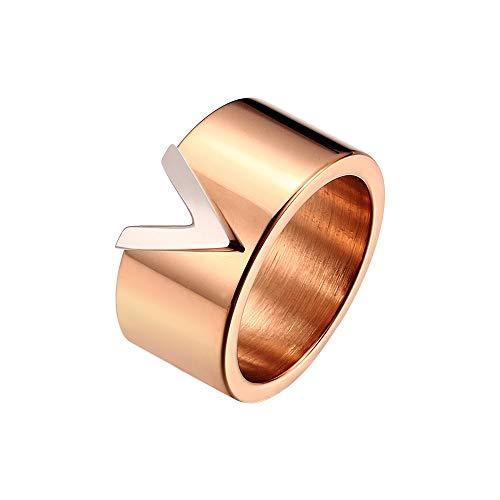 Designer Inspired Titanium Steel V Style Love Ring (Rose Gold, 8)