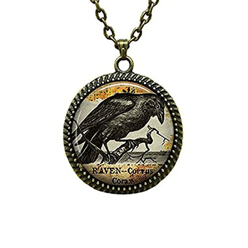 (LEO BON Glass Cabochon Pendant Necklace Raven Goth Halloween Jewelry Blackbird Vintage Chain Circle Bronze Bead Choker Healing Amulet)