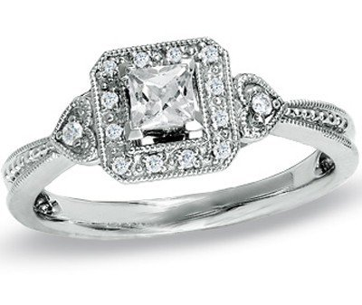 0.50 Princess Cut Diamond (Exquisite Vintage Cheap Engagement Ring 0.50 Carat Princess Cut Diamond on Gold)