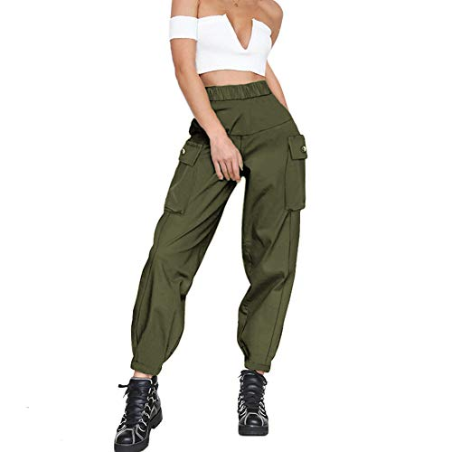 GUYUEQIQIN Women's Cargo Pants, Casual Outdoor Solid Color Elastic High Waisted Baggy Jogger Workout Pants with Pockets(L,1 Army Green)