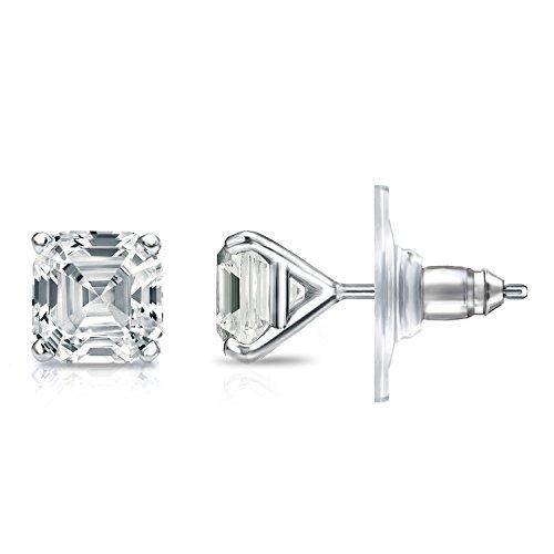 IGI Certified 14k White Gold 4-Prong Martini Asscher-cut Diamond Stud Earrings (2ct,White,SI2-I1)