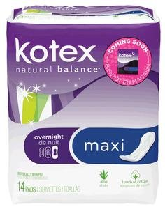 Kotex® Overnight Maxi Pads-NA - Case of 168