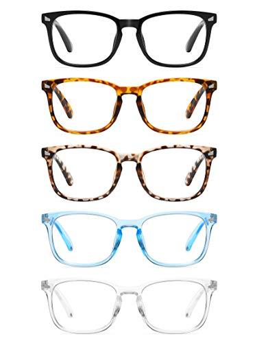 CCVOO 5 Pack Blue Light Blocking Reading Glasses, Filter UV Ray/Glare Fashion Non Prescription Fake Gaming Eyeglasses…