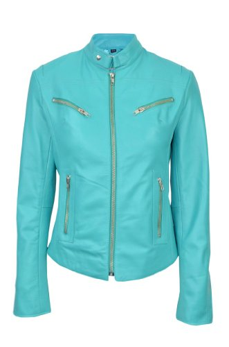 Smart Range Women's Speed Washed Cool Retro Biker Style Fitted Motorcycle Designer Leather Jacket 12 Turquoise by Smart Range