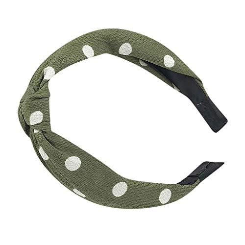 iNoDoZ Women's Headband Vintage Twist Knot Hairband Cross Knot Dot Print Ribbon Wire Tartan Retro Scar Headband Green