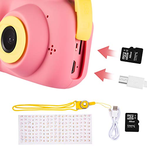 Deeteck Kids Digital Camera,Dual 8MP HD Video Toy Cameras,Gifts for 4-8 Year Old Girls & Boys,Mini Camcorders for Child Support Selfie with 16GB Memory Card(Pink) by Deeteck (Image #4)