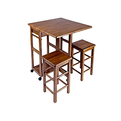 Dining Room Teak Bar Stool - ghy Mobile Island Cart Teak Dining Room Square Table Drop Down Parts Two Bar Stools Kitchen Comfortable Decorative Storage Towel Drawers Modern & e Book by JEFSHOP