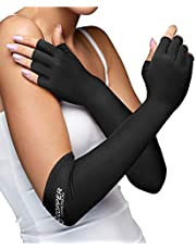 Copper Compression Long Arthritis Gloves - Guaranteed Highest Copper Content. Best Copper Infused Extra Long Fit Glove for Women & Men. Carpal Tunnel, Computer Typing, Support Hands, Wrist. 1 Pair