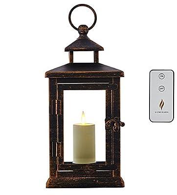 "Luminara Hudson 11"" Lantern with Flameless Votive Candle and Remote"