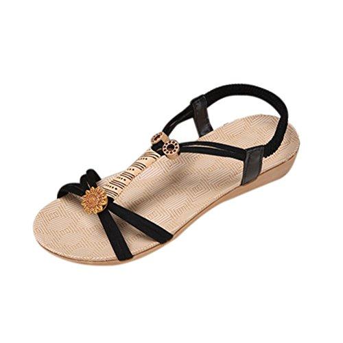 Winwintom Mujeres plana de Zapatos sandalias peep toe mujer venda bohemia de ocio outdoor Sandals Negro