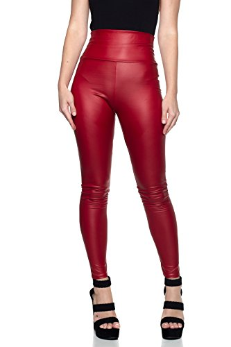 Red Womens Leather - J2 Love Women's Faux Leather High Waist Leggings, Small, Red