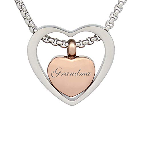 (Double Heart Cremation Necklace Memorial Urn Pendant Keepsake Jewelry Urns Angel Necklace Gift for Mom (Grandma))