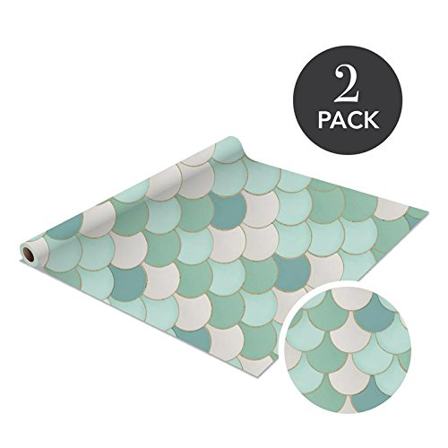 Self Adhesive Shelf Liner - 2 Pack - Mermaid Mint - Mermaid Drawer
