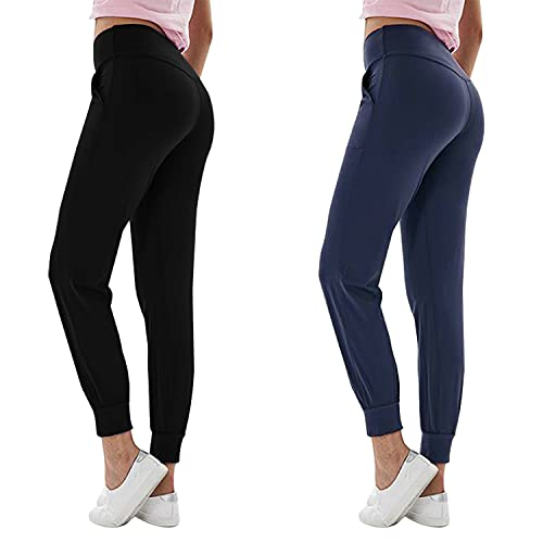 2 Pack Joggers for Women High Waist Workout Pants with Pockets Lightweight Sweatpants Lounge Tapered Casual Sweat Pants