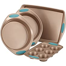 Rachael Ray Cucina Nonstick Bakeware 4-Piece Set, Latte Brown with Agave Blue Handle Grips