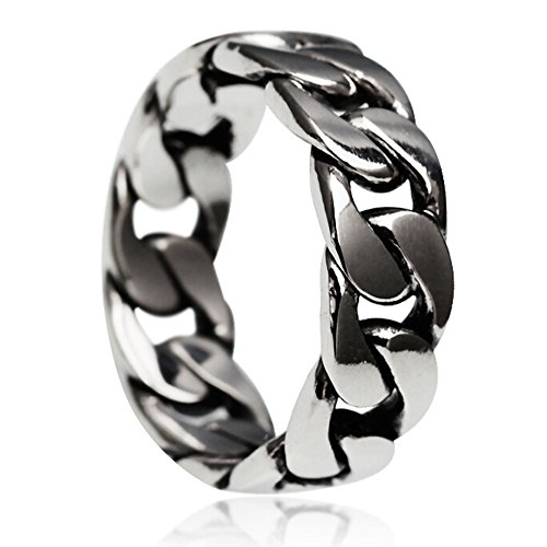 Classic Antique Vintage Link Chain Shape Solid 925 Sterling Silver and Copper Biker Fashion Daily Wear Ring Set for Men by Kardy