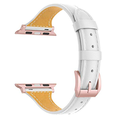 Wearlizer Milk White Slim Leather Compatible with Apple Watch Band 42mm 44mm iWatch Womens Thin Sport Strap Replacement Wristband Leisure Small Bracelet (Rose Gold Metal Clasp) Series 4 3 2 1 Edition