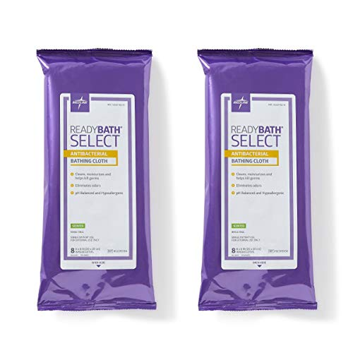 Antibacterial Scented - Medline ReadyBath Select Scented Antibacterial Body Cleansing Cloths, Medium Weight 2 Count