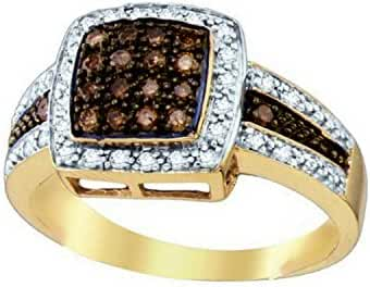 10K Yellow Gold Brandy Diamond Chocolate Brown Princess Shaped Queen Bee Ring 1/2 Ctw.