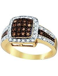 10K Yellow Gold Brandy Diamond Chocolate Brown Princess Shaped Queen Bee Ring 1/2 Ctw.