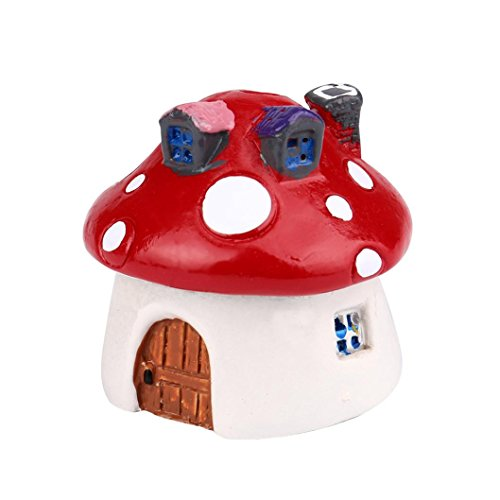 Mushroom Miniature Garden Ornament DIY Craft Pot Fairy Dollhouse Decor By Dacawin (Red) ()
