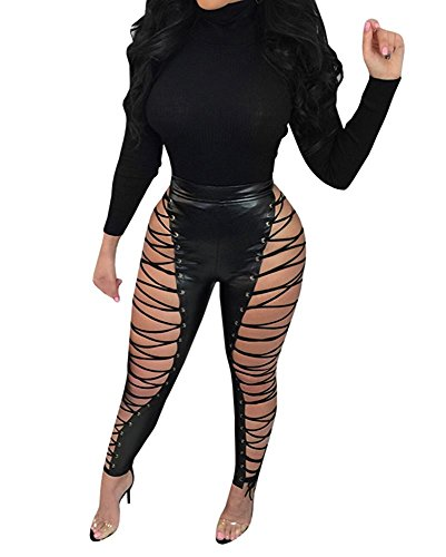 Chellysun Women Lace Up Leggings Cross Criss High Waist PU Leather Tight Club - Up Tie Leather Lace