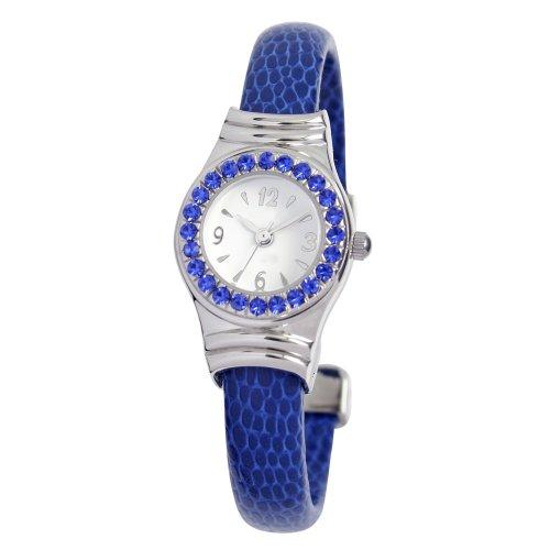 eWatchFactory Women's 0701BG0009 September Imitation Birthstone Sapphire Bangle - Birthstone Watch Bangle