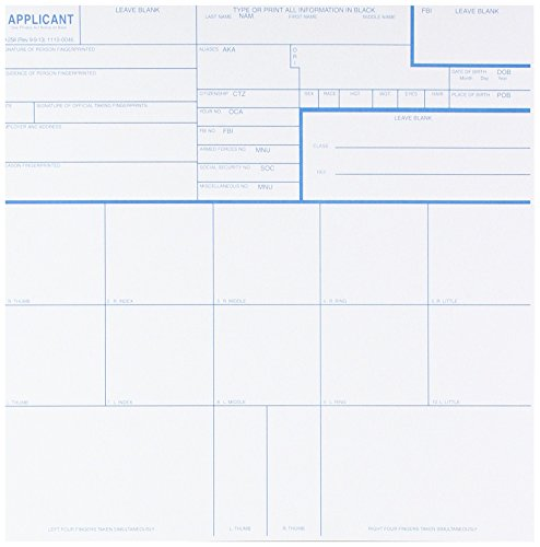 Federal Bureau of Investigation Fingerprint Cards, Applicant Fd-258, Pack of (10k Print)
