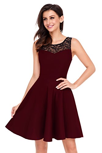Newbely Burgundy Prom Lace Party Dress Ladies Short Prom Woman Junior Dresses