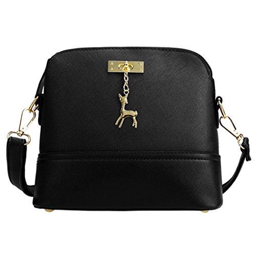 Tote Bag - All4you mujeres cuero sintético bandoleras bolso sólida pequeña cruz cuerpo Bag(Blue) Negro