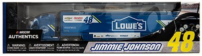 NASCAR Authentics 2017 Edition Jimmie Johnson Lowe's 1/64 Scale Hauler Trailer Tractor Semi Rig Transporter Truck Diecast