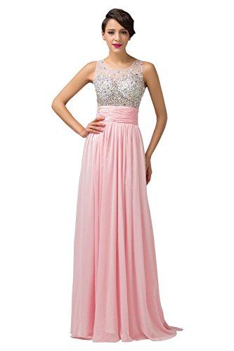 Grace Karin Women's Chiffon Beaded Tank Formal Evening Dresses (6, Pink)