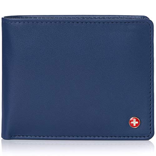Alpine Swiss RFID Mens Leather Wallet Deluxe Capacity Coin Pocket Bifold With Divided Bill Section Smooth Finish Blue (Wallet With Coins Pocket)