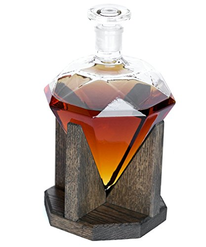 Diamond Whiskey Decanter 1000ml Glass Liquor Decanter - Scotch, Rum, Bourbon, Vodka, Tequila or Mouthwash