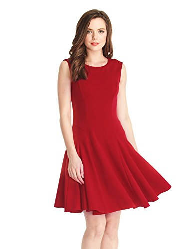 LookbookStore-Womens-Sleeveless-Skater-Semi-Formal-Knee-Length-Red-Swing-Dress