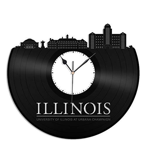 VinylShopUS - University of Illinois at Urbana–Champaign Vinyl Wall Clock City Skyline Best Gift for Home and Office | Room Decoration