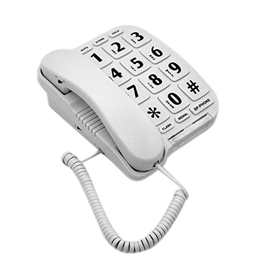 HePesTer P-011 Large Button Corded Phone for Elderly with Amplified Speakerphone Works in Power Outage for SOS Emergency ()