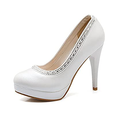 AmoonyFashion Women's Pull-on Round Closed Toe High-Heels PU Solid Pumps-Shoes with Crystals