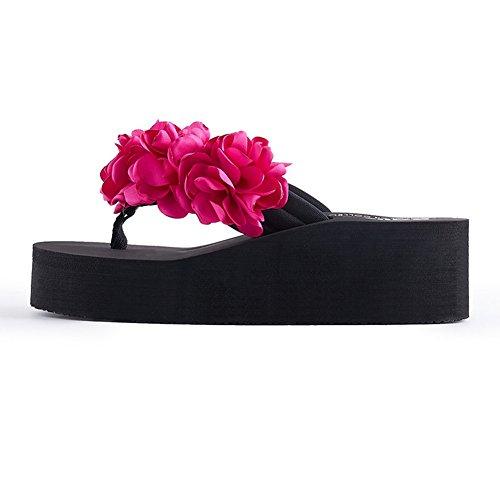 Btrada Flip Flops For Kvinner Sommeren Bohem Sandaler-blomster Plattform Utendørs Skli Strand Sko Crimson