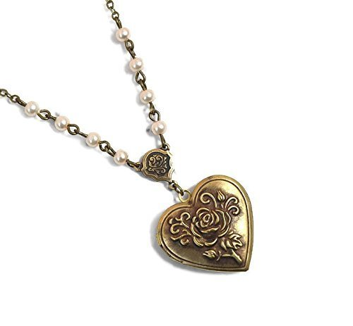 Heart Locket Necklace in Antique Gold bronze featuring ivory pearls and romantic dainty carved rose