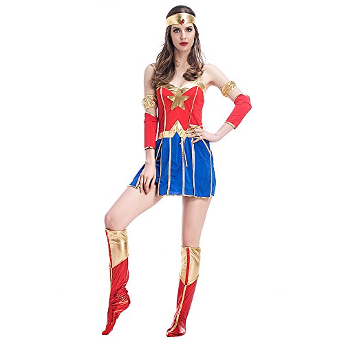 POP Style Halloween Super Women Costume , Red Blue ,One Size (Superwoman Halloween Costumes)