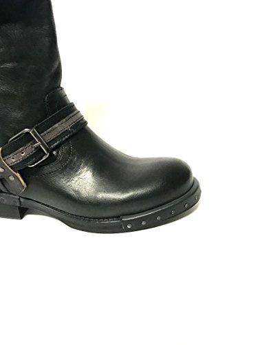 Humor Divine Genuine MainApps Biker Nero Heel Leather Boots Low HwtrFxItq