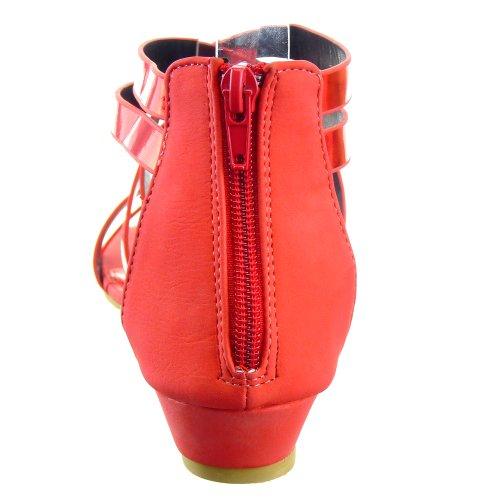 Kickly-Scarpe sportive donna sandalo infradito Spartiates caviglia flashy i tacchi, 3,5 CM, colore: rosso