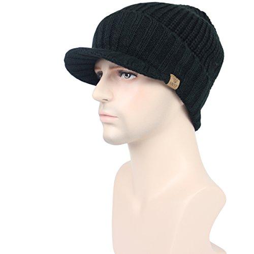 d4bee1bff7b JOYEBUY Men s Outdoor newsboy Hat With Visor Winter Warm Thick Knit Beanie  Cap (One Size