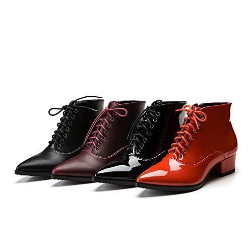 Lacet Femme Bloc Bottine Vin Bout Botte Mode Talon Boots Cuir Rouge Sexy Tube Rosegal Pointu tqISq