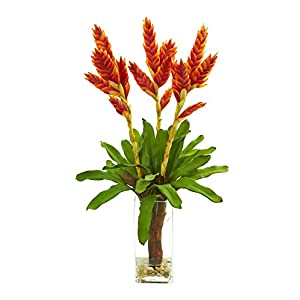 Silk Flowers -Tropical Bromeliad Arrangement with Glass Vase Artificial Flowers 117