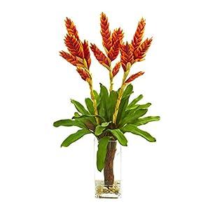 Silk Flowers -Tropical Bromeliad Arrangement with Glass Vase Artificial Flowers 65