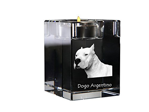 Dogo Argentino, crystal candlestick, candle holder with dog, souvenir, limited edition by Art Dog Ltd.