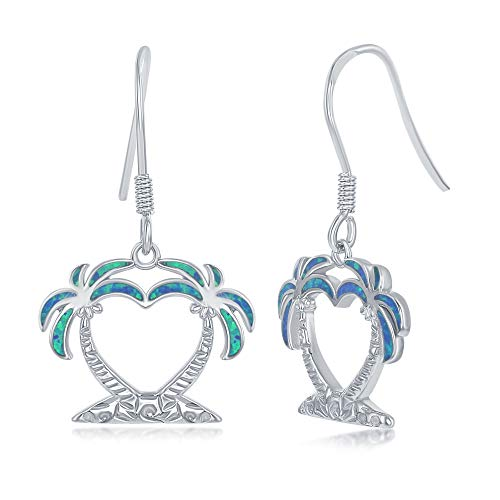 Sterling Silver Created Blue Opal Heart Palm Tree Dangle ()
