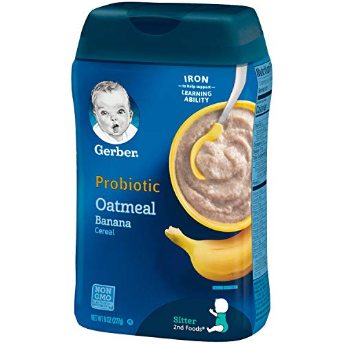 41qfvAwZ cL - Gerber Baby Cereal Probiotic Oatmeal & Banana Baby Cereal 8 Ounces (Pack Of 6)